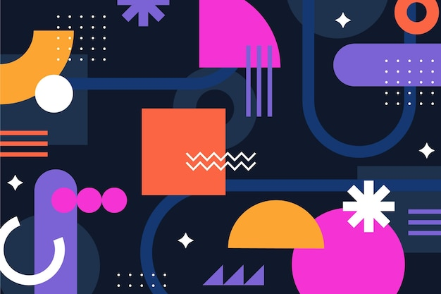평면 디자인 다채로운 기하학적 배경