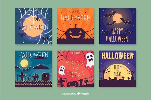 Flat design of colorful halloween card collection