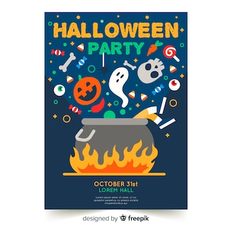 Flat design of colorful halloween party poster template