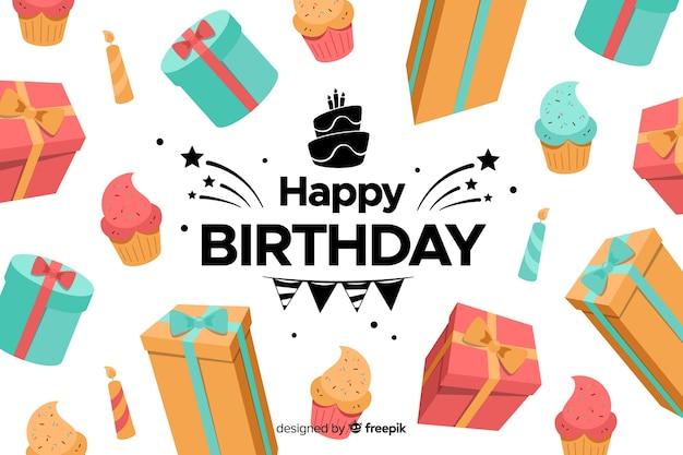 Flat design colorful happy birthday background