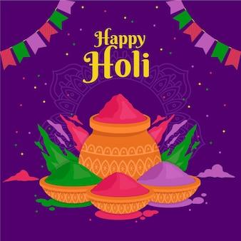 Flat design colorful holi gulal illustration