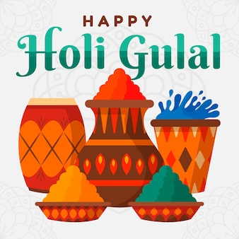 Flat design colorful holi gulal theme