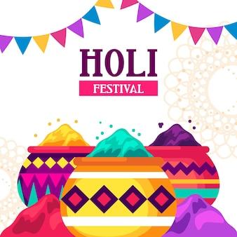Flat design colorful holi gulal