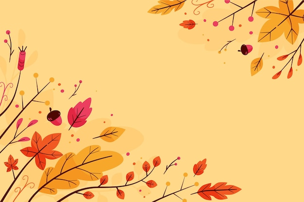 Flat design colorful leaves background with copy space