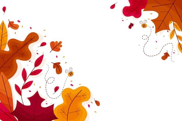 Плоский дизайн красочные листья обои с копией пространства