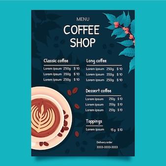 Design piatto del modello di menu colorato