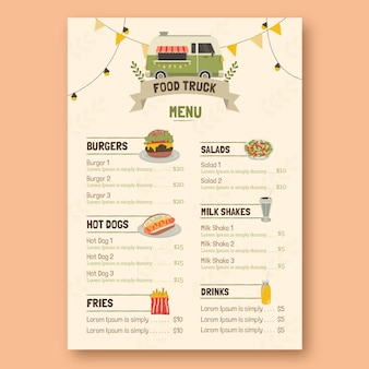 Flat design of colorful menu template