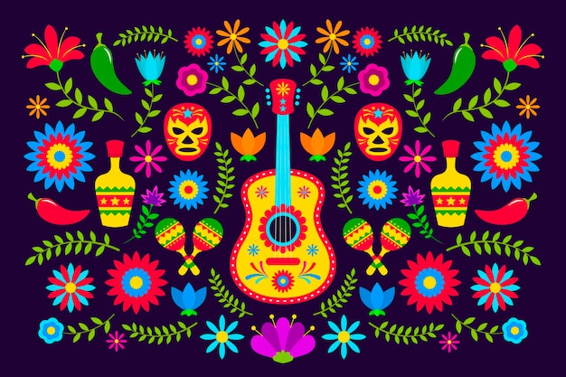 Flat design colorful mexican background theme