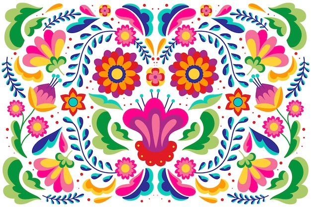 Flat design colorful mexican background