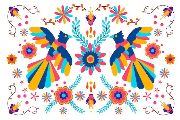 배경의 평면 디자인 화려한 멕시코 테마