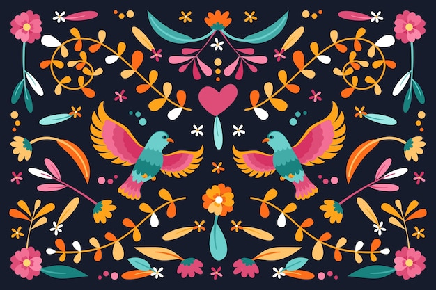 Flat design colorful mexican wallpaper concept