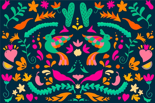 Flat design colorful mexican wallpaper theme