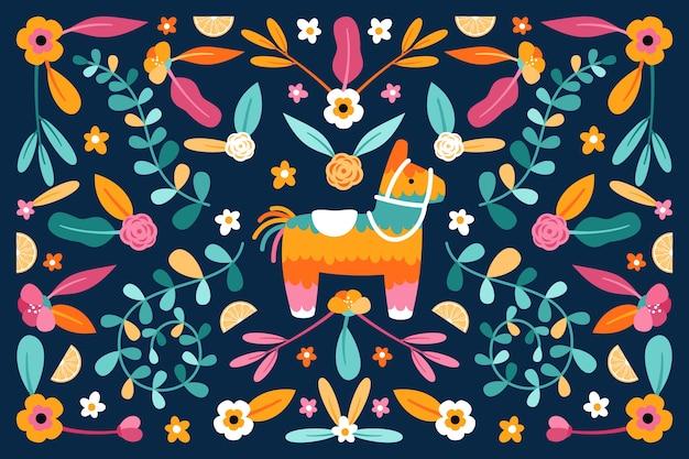 Плоский дизайн красочная мексиканская тема обоев