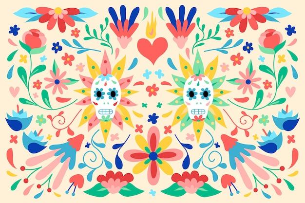 평면 디자인 화려한 멕시코 벽지