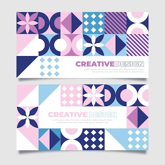 Flat design colorful mosaic banners