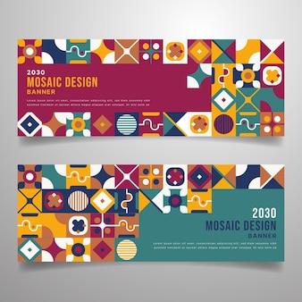Banner di mosaico colorato design piatto