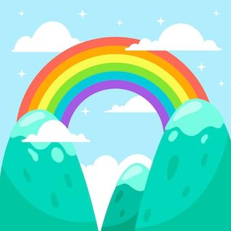 Плоский дизайн красочная радуга в небе