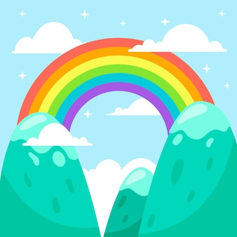 Flat design colorful rainbow in the sky