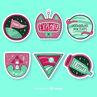 Flat design colorful space sticker collection