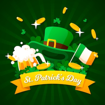 Flat design colorful theme of st. patricks day