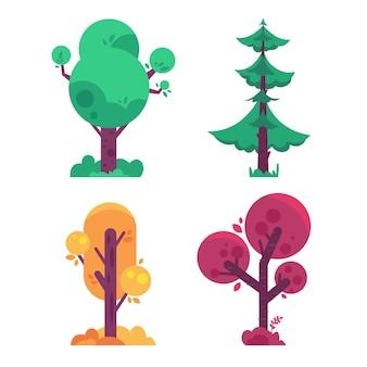 フラットなデザインのカラフルなタイプの木のコレクション