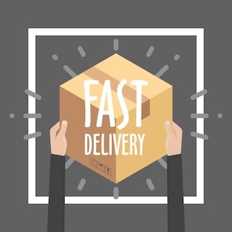 배달 서비스, 전자 상거래, 온라인 쇼핑, 택배에서 고객에게 패키지를 받기 위한 평면 디자인 다채로운 벡터 일러스트레이션 개념.