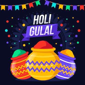 Flat design colourful holi gulal