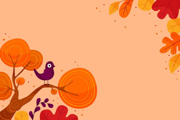Flat design colourful leaves wallpaper with copy space