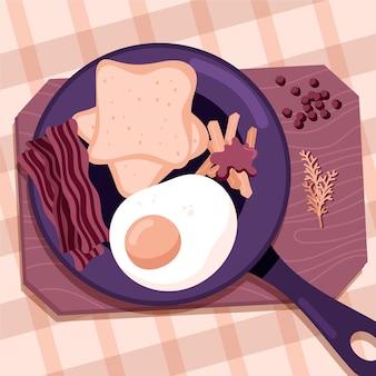 Illustrazione dell'alimento di comodità di design piatto con uova e pancetta