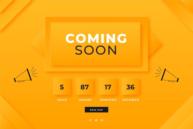 Flat design coming soon promo background
