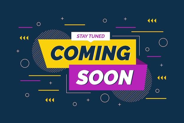 Flat design coming soon promo wallpaper