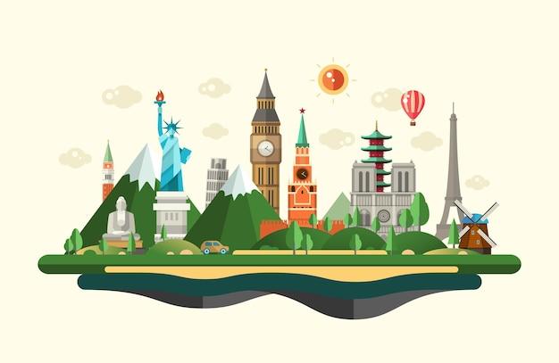 Flat design composition illustration with world famous landmarks Premium Vector
