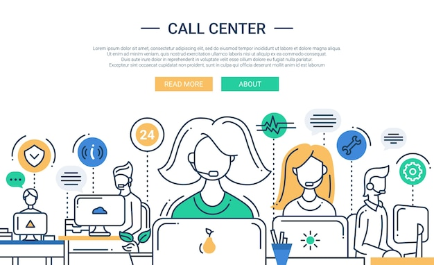 Flat design composition with call center support