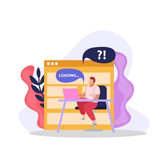 Flat design composition with computer user waiting for program loading