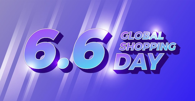 Flat design concept 6.6 global shopping day. six of june Premium Vector