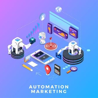 フラットデザインコンセプトオートメーションマーケティング。デジタルマーケティングツール。ウェブサイトとバナーのデザインテンプレート。