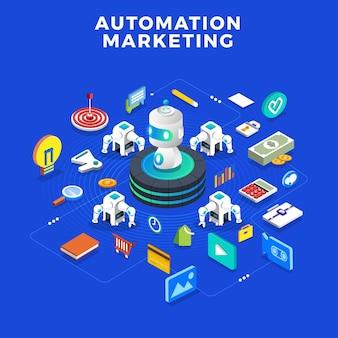 Плоский дизайн концепции автоматизации маркетинга. инструменты цифрового маркетинга. шаблон дизайна для веб-сайта и баннера.