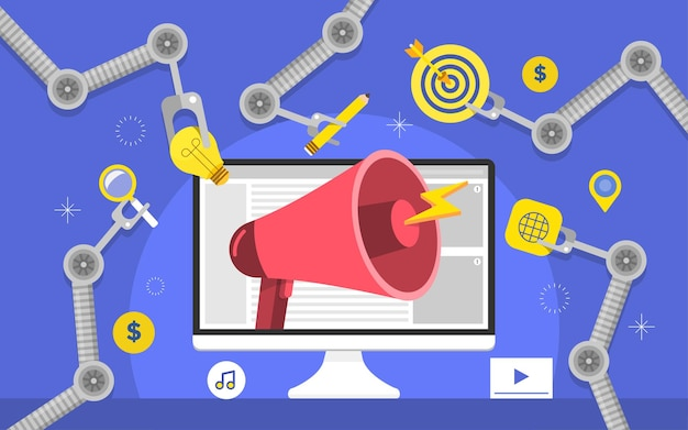 평면 디자인 컨셉 자동화 마케팅. 디지털 마케팅 도구. 웹 사이트 및 배너 디자인 템플릿입니다.