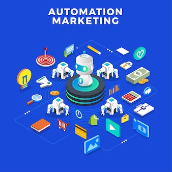 Flat design concept automation marketing. digital marketing tools. design template for website and banner.
