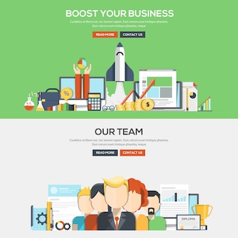 Flat design concept banner - bosst your business and our team