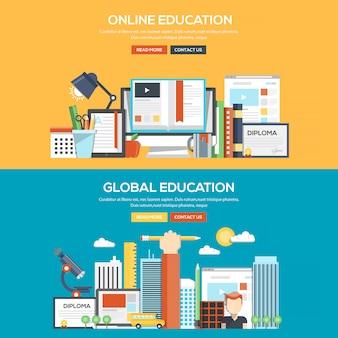 Flat design concept banner - online and global education