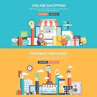 フラットなデザインコンセプトバナー-オンラインショッピングと支払い方法