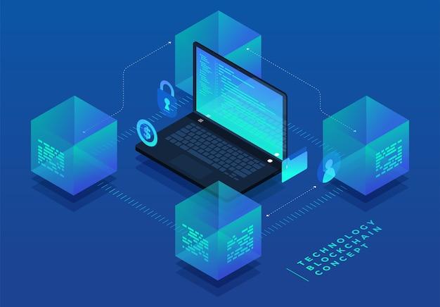 Плоский дизайн концепции блокчейн и технологии криптовалюты