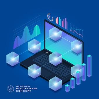 フラットデザインコンセプトのブロックチェーンと暗号通貨テクノロジー