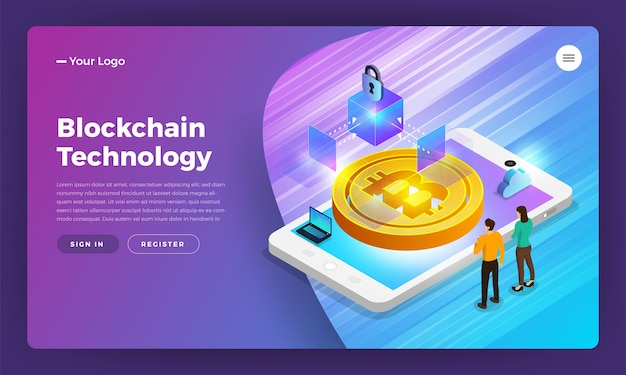 Flat design concept blockchain and cryptocurrency technology