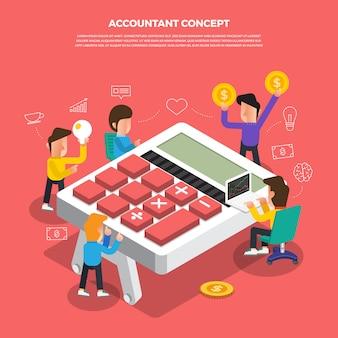 Flat design concept brainstorm working on desktop icon accountant. illustrate.