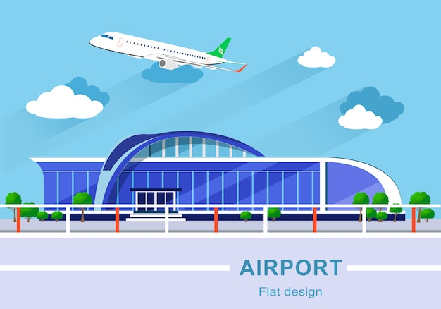 Flat design concept of detailed airport building with airplane.