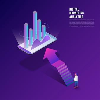 Flat design concept digital marketing analysis data information.