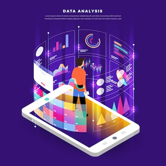 Flat design concept digital marketing data analysis with graph chart.