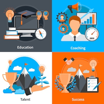 Flat design concept elements and characters for mentoring and coaching skills development set isolated vector illustration